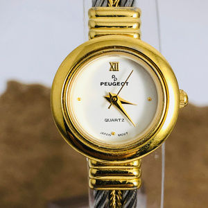 Vintage Peugeot Stainless Steel and Gold Watch